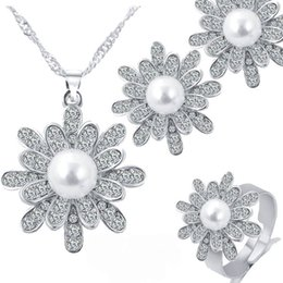 Wholesale white pearl drops - 3 set Crystal Pearl Snowflake Necklace Earrings Ring Jewelry Sets with silver Gold Chain for Women Fashion Wedding Jewelry DROP SHIP 162196