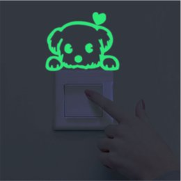 Wholesale Luminous Stickers - Wholesale- Luminous Stickers Super Bright Home Decoration DIY Funny Cute Cat Switch Glow in the Dark Living Room Fluorescent Sticker poster