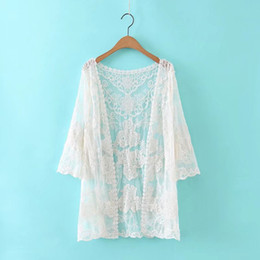 Wholesale Sunscreen Lace - Summer New Women Lace Blouse Hollow Out Flowers Lace Shawl Loose Sunscreen Beach Female Shirts Short White Top Preppy 2017