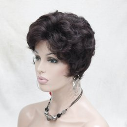 Wholesale Black Purple Short Wig - 2017 hot super fashion charming off black mix eggplant purple short curly woman's synthetic full wig
