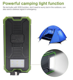 Wholesale Solar Light Mobile Charger - New outdoor Solar power bank 20000 mah mobile powerbank universal portable solar charger LED light solar battery