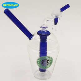 Wholesale Nail Cups - Dropshipping!!! Oil Rigs Glass Bongs + Free 3mm Thick Female 100% Quartz Banger Nail 14mm Male Joint Starbucks Cup Glass Water Pipe