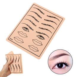 Wholesale tattoo skin sheets - Wholesale- New 1PCs Professional Eyebrow Lips Pattern Tattoo Practice Skin Sheets 8x6'' Size High Quality Tattoos Training Tools