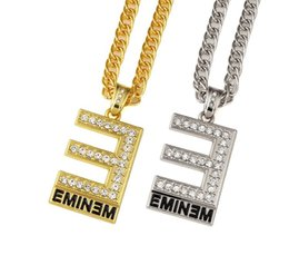 Wholesale Silver E Charms Pendant - Wholesale Men Women Rhinestone Rock EMINEM E Pendants Necklaces 18k Gold Silvery Plated Bling Hip Hop Chains Jewelry Gifts