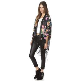 Argentina Chifón de las mujeres de manga corta blusa estampado floral Tops Tassel Shawl Cardigan camisas de verano chaquetas supplier half cardigan jacket Suministro