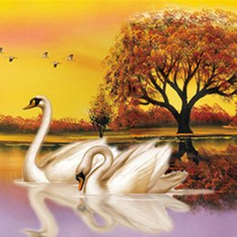 Wholesale cross stitch kit swans - 5D DIY Fly together Always be in love Soulmate Swan Love each other Kit Round Diamond Painting Cross Stitch Home Decor