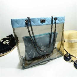 Wholesale ladies fashion shoulder hand bags - 2015 summer fashion ladies hand carry beach bag jelly crystal chain transparent child bag shoulder bag High Quality 4 colors