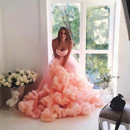 Wholesale Real Photo Peach Dresses - Wave Tier Layer Skirts Long Train Peach Ball Gown Wedding Dresses 2017 Cascading Ruffles Bridal Gowns with Sash