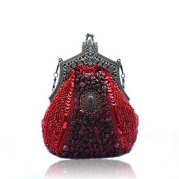 Wholesale Vintage Beaded Bags - Wholesale- 2016 Vintage Handmade Beaded boho Evening Bag Women Clutch Bag Delicate Banquet Bags Bride Wedding Party Purse ChainWY09