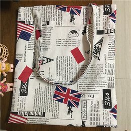 Wholesale Newspaper Shoulder Bags - Wholesale- YILE Cotton Linen ECO Shopping Tote Shoulder Bag Newspaper Union Jack 170119-2