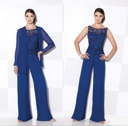 Wholesale Gold Ladies Evening Suit - 2017 Lace Royal Blue Mother of the Bride Mom's Pant Suits Pajamas Scoop Neck Lady Women with Long Jacket Lady Evening Gown