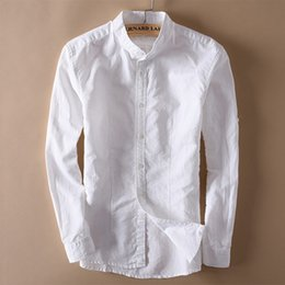 Wholesale Mens Linen Shirts - Summer Men's Stand Collar Linen Shirts Mens Button-Front Quality Casual Shirts Solid Cotton Shirts Full Sleeve TS-154