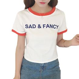 Wholesale Cheap Fancy Clothes - Wholesale-Summer Tshirts Cotton Women Summer Crop Top Sad & Fancy Print Slim T-shirt Milk White Black Cropped Feminino Cheap Clothes China