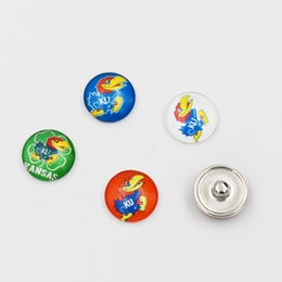 Wholesale Sports Team Jewelry - Mixed Kansas Jayhawks Ginger Snap Jewelry NCAA Snap Button 18mm Glass Collegiate Sport Team Snap Charms Fit For DIY Jewelry