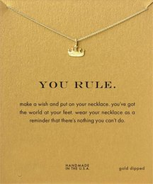 Wholesale Crown Necklace For Women Gold - New Arrival Gold Crown Pendant Necklace Dogeared (You Rule) Fashion Choker Women Clavicle Chain Jewelry For Female Gift Wholesale