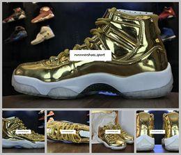Wholesale Carbon Fashion - New Air Retro 11 Pinnacle Metallic Gold White Mens Basketball Shoes Snearker Fashion 11s Gold Basket Ball Sport Shoes With Real Carbon Fiber