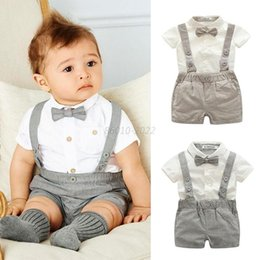 Wholesale Autumn Rompers - 2017 Baby kids 3 Pieces sets Gentleman suit Kids boy 100% cotton white skirt + rompers +bow tie kids clothing sets free shipping 2 colors