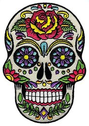 Wholesale Dead Skull - Low Price Custom Sugar Skull Calavera Patch Embroidered Iron-On Skeleton Day of the Dead Emblem Free Shipping