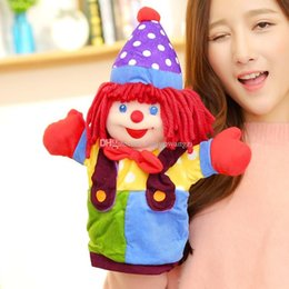 Wholesale Hand Puppet Plush Doll Children - New arrival clown hand puppets large plush puppets baby calm fluffy hand puppets Children love toys doll