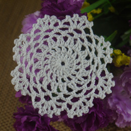"""Wholesale Round Handmade Tablecloth - Wholesale- 10PCS Handmade Crocheted Doilies White applique4"""" 10cm cup Mat Pad tablecloth coasters Dial Wadding Home Decoration"""