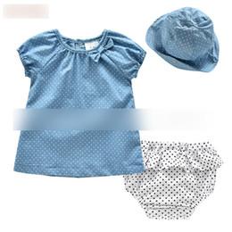 Wholesale Polka Dot 3pcs - Baby princess outfits toddler kids cute bows polka dots T-shirt + stars falbala shorts + hat 3pcs sets summer new children clothes G0001