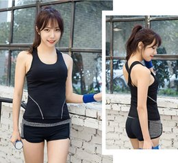 Wholesale Dry Suits For Women - Women Quick Dry Yoga Set for Gym Running Short Sleeve Sports Top vest Comes with bra Set Professional Workout Fitness Set Suit