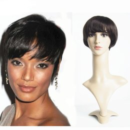 Wholesale Machine Wigs - Hairstyles For Women Short Wigs For Black Women 6inch Brazilian Original Human Hair Short Straight Machine Made Lace Front Wig