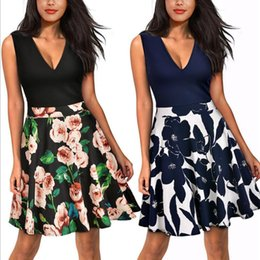 Wholesale Nice Women Dresses - Nice-forever Summer Floral Casual Stylish Elegant Print Charming Women O Neck Sleeveless Zipper Work Office Expansion Dress A009
