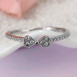 Wholesale Engagement Rings For Women - Authentic 925 Sterling Silver Ring Fine Jewelry Pave Bowknot With Crystal Ring For Women compatible with Pandora jewelry HRA0057