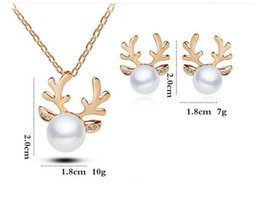 Wholesale Heart Rhinestone Pearl - Europe and the United States fast sell through explosion of crystal diamond pearl antlers necklace jewelry Christmas set necklace wholesale