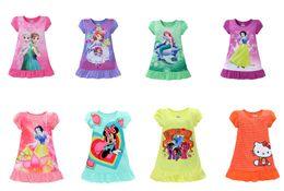 Wholesale Dress Denim Minnie - 8 Styles 2017 Summer girls dresses Elsa Anna Mermaid Sofia Snow White Minnie kids pajamas polyester nightgowns sleepwear clothes