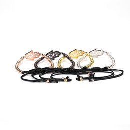 Wholesale Round Copper Braid - 4mm Round Bronze Beads Fatima Hand CZ Beads Charm Braiding Macrame Bracelets & Bangles for Men Jewelry Bracelet