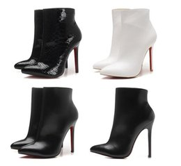 Wholesale sexy boot heels - 12cm Designer Sexy Ladies Red Bottom Boots High Heels Pumps Luxury Pointed Toes Black Genuine Leather Ankle Boots Winter Boots for Womens