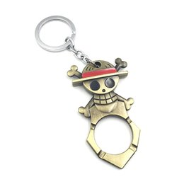 Wholesale Gun Keychains - Free Shipping 10pcs lot Animation One Piece Skeleton Keychain Vintage Bronze Key Holder For Women&Men Size 8*4cm