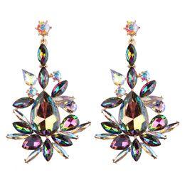 Wholesale Good Crystal Chandelier - Bohemian Statement Fashion Jewelry Wedding Crystal Dangle Earrings Luxury Women Good Quality Multicolored Long Earrings for Ladies