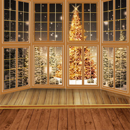 Wholesale Photography Background Fabric - 10x10ft Fabric Backdrops for Photography Wood Floor Windows Golden Sparkle Christmas Tree Outdoor Winter Snow Backgrounds for Photo Studio