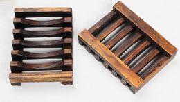 Wholesale Soap Box Dish Holder Wholesale - Vintage Wooden Soap Dish Plate Tray Holder Box Case Shower Hand washing DHl Free Shipping LLFA