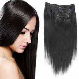 Wholesale Top Piece Clip Extensions - Top Quality Clip In Human Hair Extensions Natural Color 7 Pieces Set 100% Brazilia Remy Hair Full Head Sets Shipping Free