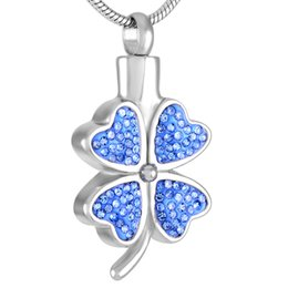 Wholesale Leaf Pendants Charms Wholesale - IJD8220 Luxury Crystal Four Leaf Clover Cremation Urn Necklace Women Charm,Elegant Design Stainless Steel Cremation Jewelry Pendant Hot Sale