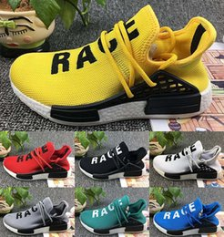 Wholesale Men Original Leather Shoes - Originals NMD Human Race Running Shoes Men Women Pharrell Williams NMD Runner Boost Shoes Yellow Grey Black White Red Green Blue eur 36-45