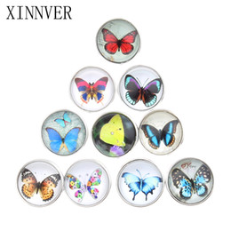 Wholesale White Butterfly Necklace - Free Shipping DIY Jewelry Mixed Colors 18mm Butterfly Glass Snaps Fit button snaps Bracelets Xinnver Snap Jewelry or necklace ZB310