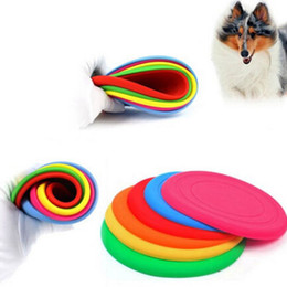 Wholesale Red Frisbees - DHL free pet dog flying discs soft silicone frisbee training communicating toys with your pets 7 colors in stock