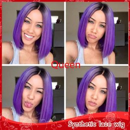 Wholesale Purple Ombre Synthetic Wig - Fashion Ombre Purple Short Bob straight hair Wig Synthetic Lace Front Wigs with baby hair Heat Resistant Fiber Wigs for Black Women