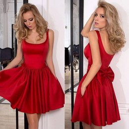 Wholesale Elegant Mini Formal Dresses - 2017 New Cheap Elegant Little Short Red Satin Cocktail Dresses Formal Women Party Dress Side Pocket Back With Bow Homecoming Graduation Gown