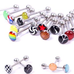 Wholesale Flower Tongue Ring - 30 Style mixed logo Assorted Tongue Nipple Bar Ring Barbell Piercing Tongue Color flower tongue ring Body Jewelry