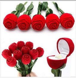 Wholesale Red Wedding Rings - Gift Wedding Boxes Rose Shaped Ring Box Mini Cute Red Carrying Cases For Rings Hot Sale Display Box Jewelry Packaging Gift Boxes