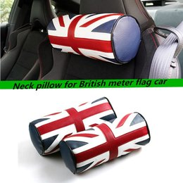 Wholesale Red Bolster Pillow - 2 pcs For The new Mini F55 F56 head neck leather British flag car Mini bolster