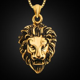 Wholesale Jewelry Fashion United State - Europe and the United States fashion jewelry 18K gold back ancient domineering lion pendant necklace men 's jewelry