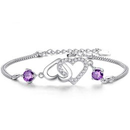 Wholesale Nice Gift Set - 6Pcs Lot Women New Romantic Love-Love Bracelets 925 Sterling Silver Trendy Fashion Jewelry Girls Bracelets Double Chain Nice Gift Hot Sale