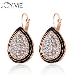 Wholesale Black Crystal Clip Earrings - Joyme Brand 2016 New Crystal Rhinestone Drop Water Earring for Women Retro Vintage Gold Black Dangle Clip on Earing E351JM